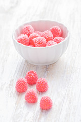 pink candies in a bowl