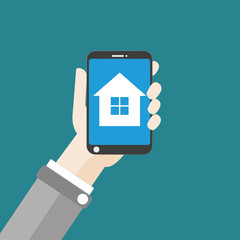 Hand Smartphone House Flat Design