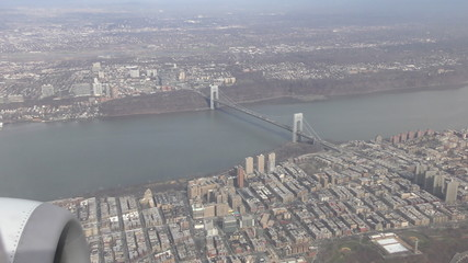 Aerial view of bridge near Queens New York 4K