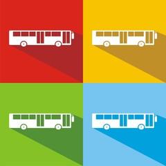 Iconos bus urbano colores sombra
