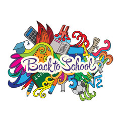 Vector decorative doodles design card Back to school