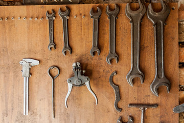 Old vintage tools at workshop.