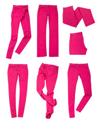 collection of bright pink jeans isolated on white background