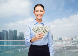 businesswoman with dollar cash money
