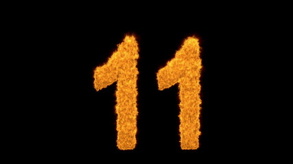 Burning number eleven - 11- with fiery flames