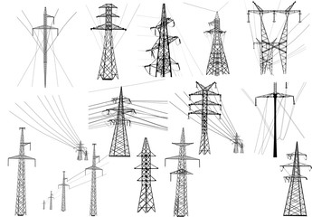 set of isolated electric pylols and lines