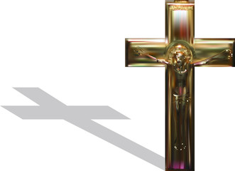 gold cross and shadow isolated on white