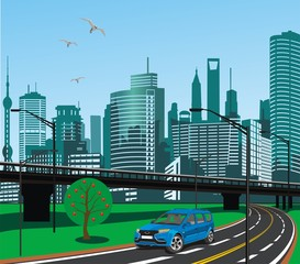 city skyline vector with the image of the car in the foreground