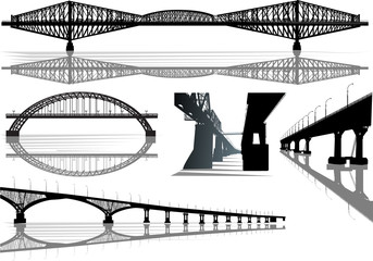 five bridges collection isolated on white
