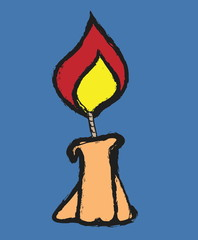 doodle candle  illustration icon