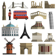 Travel landmark flat icons set