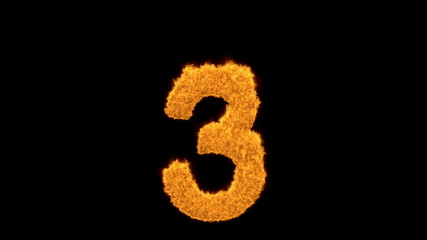 Burning number three - 3 - on black