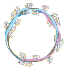 Vector colorful leaves frame isolated.