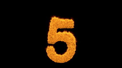 Burning number five - 5 - with fiery flames