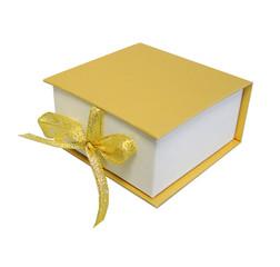 Изолированный Коробка Футляр Подарок Сюрприз Золото Желтый