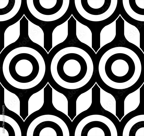 Fototapeta Seamless Circles and Square Pattern black and white