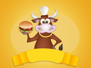 bull with hamburger