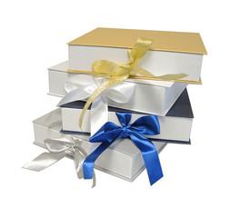 Изолированный Подарки Праздник Золотой Синий Серебряный