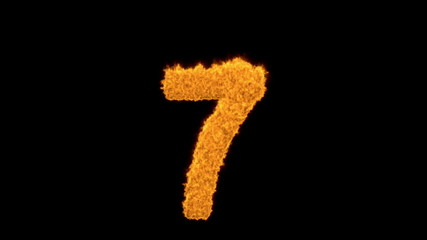 Burning number seven - 7 with fiery orange flames