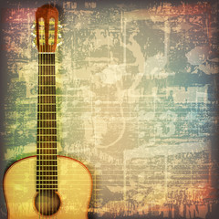 abstract grunge piano background with acoustic guitar