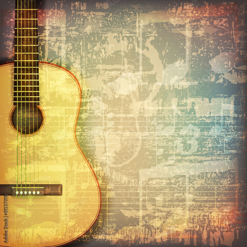 Plakat abstract grunge piano background with acoustic guitar