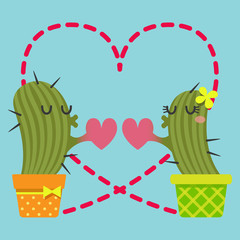 the loving couple of cactus