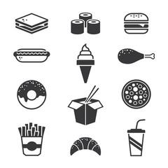 Black fast food icons