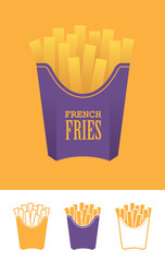 Four french fries icons