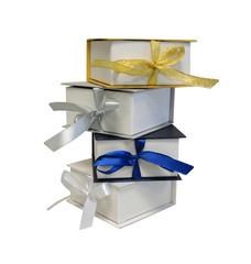 Изолированный Подарки Коробки Золотой Ленты