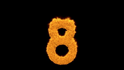 Fiery number eight - 8 - with bright orange flames