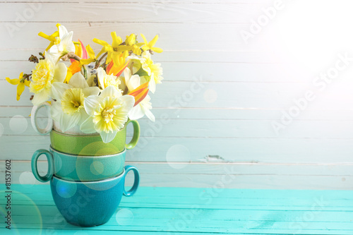 Staande foto Narcis Background with fresh daffodils