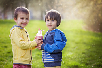 Sweet boys in the park, holding bottle with smoothie, drinking