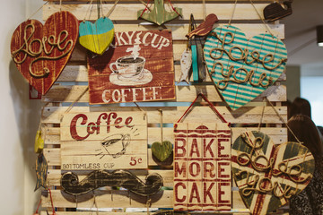Decorative wooden signboard coffee