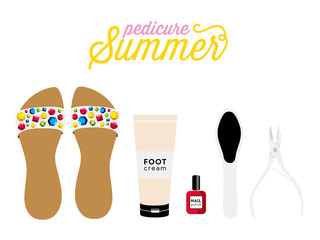 Isolated Pedicure collection. Vector design.