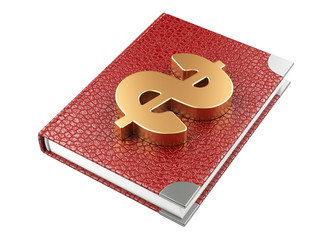 Closed black leather notebook and dollar sign. Business plan
