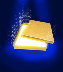 Магический Волшебный Золото Коробка Открывается Чудо