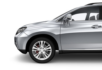 Compact silver SUV isolated on white