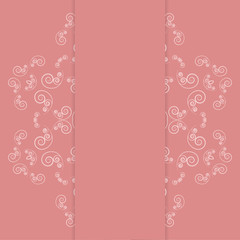 Pink card design with ornate floral pattern