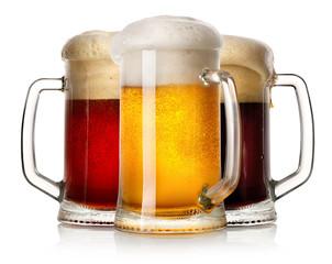 Glass mugs of beer
