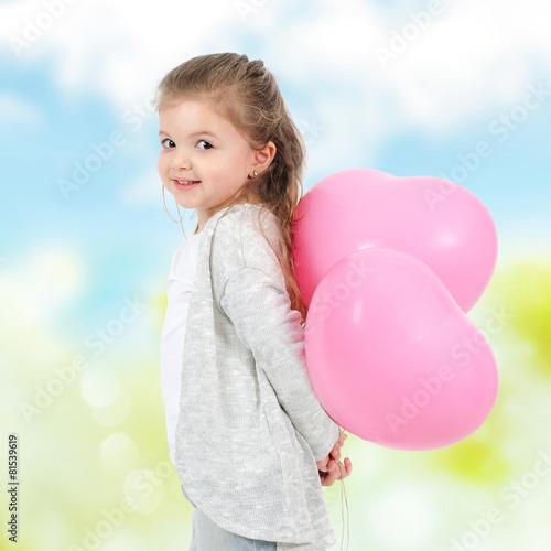 Poster Kind mit Herzluftballon