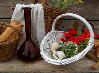 still life with poppies and bread