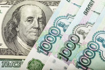 Russian money and one hundred dollars