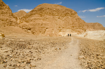 Hikers from Europe walking in Negev Desert