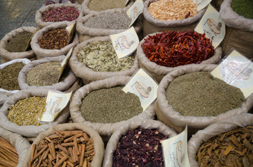 Spices nuts and other food for sale at a market, Jerusalem