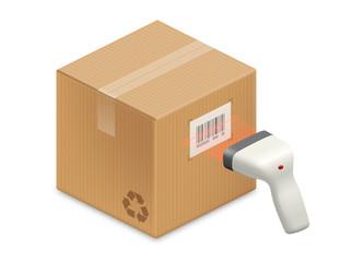 Boite en carton et lecteur de code barre vectoriels 1