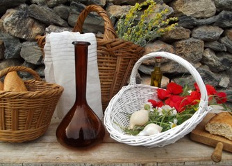 still life with bread and poppies