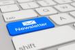 Leinwandbild Motiv keyboard - newsletter - blue