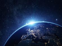 "Постер, картина, фотообои ""Planet earth from the space at night"""