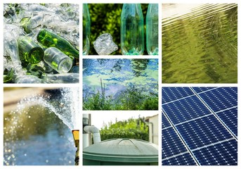 Collage about recycling on clean energy