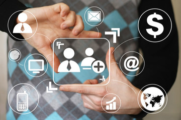 Social network interface businessman touch button virtual